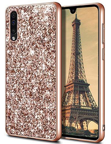 Coolden Handyhülle für Samsung Galaxy A50 Hülle A50s/A30s Glitzer Bling Sparkle Stoßfest Hart Bumper Hülle Ultra Schlank Schutzhülle für Samsung A50/A50s/A30s (Rose Gold)