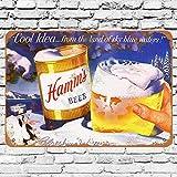 None Branded 1956 Hamm's Beer and Winter Blechschild