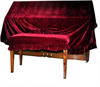 NUZAMAS Velvet Piano Dust Cover and Piano Double Stool Cover Extra Thick Protection Against Dust and Scratches (Deep Red)