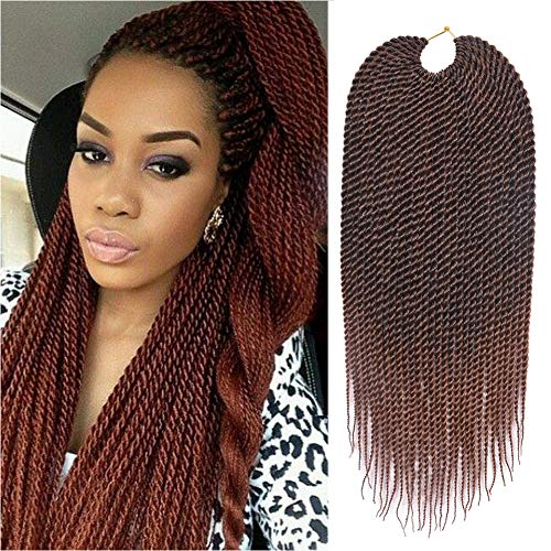 Refined 7Packs 18Inch 30Stands/Pack Senegalese Twist Crochet Braids 16 Colors Avaliable for Black Women Low Temperature Fiber Synthetic Braiding Hair Extensions(18inch, T30)