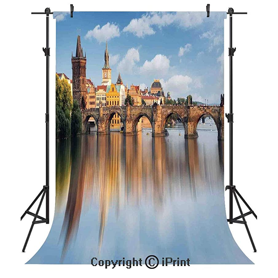 Wanderlust Decor Photography Backdrops,Charles Bridge in Prague Czech Republic Reflection on River Towers Forest Landmark Scene Decorative,Birthday Party Seamless Photo Studio Booth Background Banner