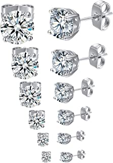 GEMSME18K White Gold Plated 4 Pong Round Clear Cubic Zirconia Stud Earring Pack of 5/6