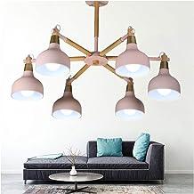 HN Lighting Chandelier LED Macaron Living Pendant Light Nordic Log Simple Restaurant Light Creative Personality Pink Bedro...