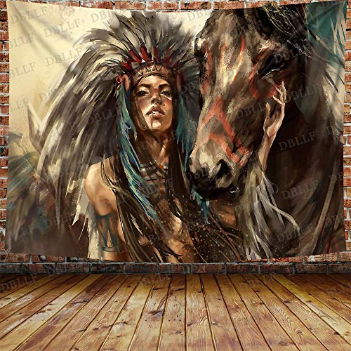DBLLF Ancient Native American Tapestry Rustic Wall Art Retro Indian Chief with Horse Painting Tapestry Indian Girl Artwork Wall Hanging, Flannel Art Large Tapestries for Home Decor (80 x 60 inches)