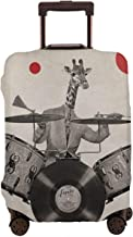Luggage Cover Giraffes Play Drums Abstract Art Style Retro Protective Travel Trunk Case Elastic Luggage Suitcase Protector Cover