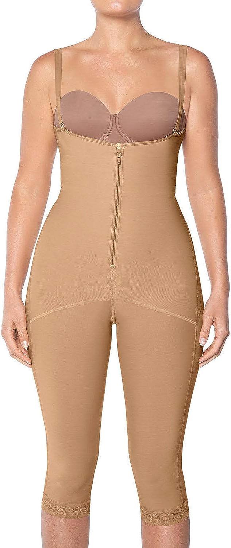 Leonisa Women's Capri Slimming Bodysuit Firm Compression Control Shaper