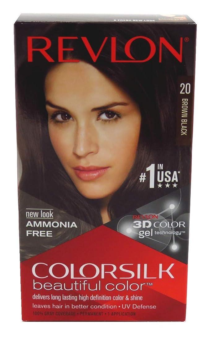 貫通するお風呂を持っている泥棒Revlon Colorsilkヘアカラー20ブラウンブラック、3パック ブラウン、ブラック
