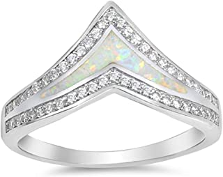 Sterling Silver Lab Created White Opal Chevron Thumb Stackable Ring Sizes 4-12