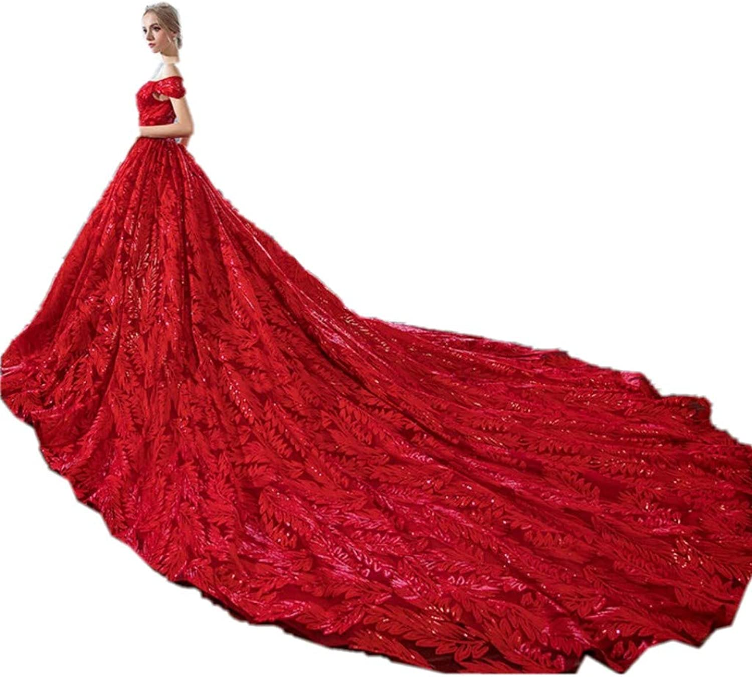 Darcy74Dulles Women's Red Off The Shoulder Long Satin Quinceanera Dreses Ball Gown Evening Wedding Gowns Trailing