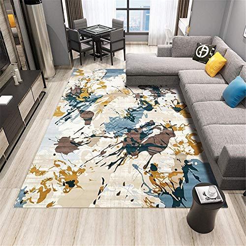Alfombra Antideslizante Azul Alfombra de Sala de Estar Azul Graffiti patrón Abstracto Alfombra Suave antiácaros alfombras Infantiles habitacion 160X230CM alfombras de Pelo para habitacion 5ft