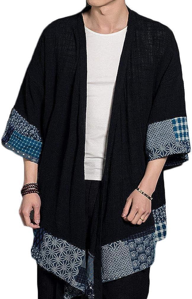 Lavnis Men's Kimono Cardigan Casual Cotton Linen Seven Sleeve Lightweight Open Front Cape Coat