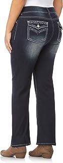 WallFlower Women's Plus-Size Embellished Pocket Luscious Curvy Bootcut Jeans