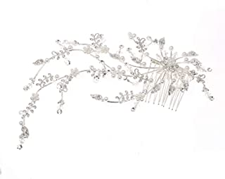 Topwholesalejewel Wedding Jewelry Silver Plating Faux Pearl Hair Comb