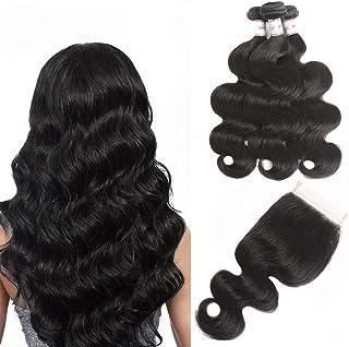 "Karbalu Hair 10A Brazilian Virgin Hair Body Wave 3 Bundles with Closure 100% Unprocessed Brazilian Body Wave Human Hair Weft with Lace Closure Brazilian Body Wave(12 14 16+10"" Free Part,Natural Black)"