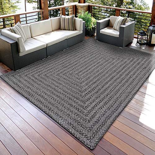 DECOMALL In- und Outdoor Teppich Geflochte Reversibel Außenteppich Grau Schwarz 160x230cm