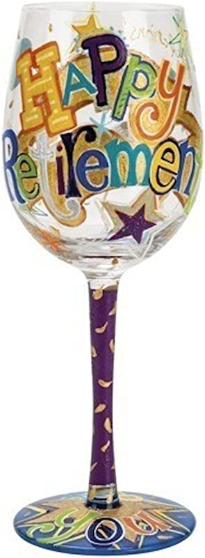Lolita Happy Retirement Artisan Painted Wine Glass Gift