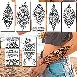 8 Piezas Realista Joyería Falsa Tatuajes Temporales Pegatina Para Mujer Impermeable Flor Pulsera Mandala Flor Rosa Tatuajes Tatuajes