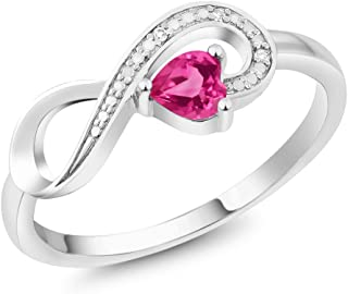 10K White Gold 0.30 Ct Heart Shape Pink Mystic Topaz Diamond Infinity Ring (Available 5,6,7,8,9)