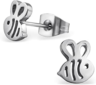 Stainless Steel Tiny Honey Bumble Bee Stud Post Earrings