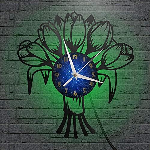 XYVXJ Garden Tulip Flower Theme Reloj de Pared con Disco de Vinilo de 12 Pulgadas, silencioso y sin tictac, Reloj de Pared para Cocina, hogar, Sala de Estar, Dormitorio, Escuela, con LED