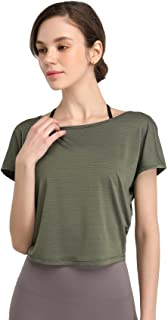 VINEMN Crop Tank Tops for Women, Yoga Gym Workout Tops Athletic Shirt, Loose & Tight Fit, Quick Dry, Breathable, Lightweight