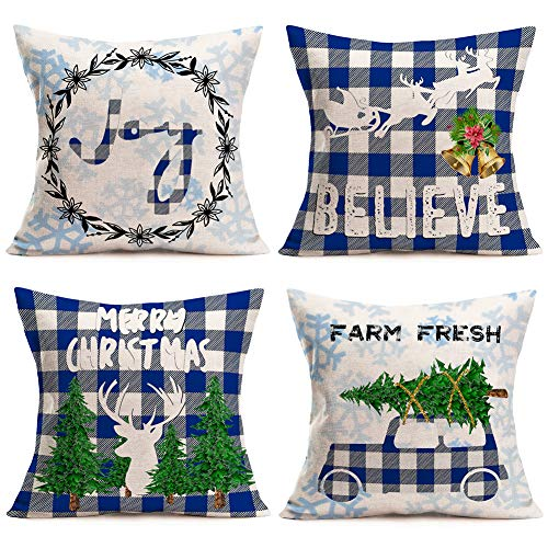 Fukeen Buffalo Check Christmas Decorations Set of 4 Throw Pillow Covers Blue White Truck with Christmas Tree Reindeer Joy Believe Pillow Cases Cotton Linen 18x18 Inch Winter Snowflake Pillowcase