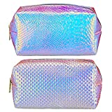 2 Pieces Holographic Makeup Bag Iridescent Mermaid Cosmetic Bag Toiletry Travel Pouch Organizer Portable Waterproof Toiletries Bag Cases Cosmetic Zipper Pouches for Women Girls