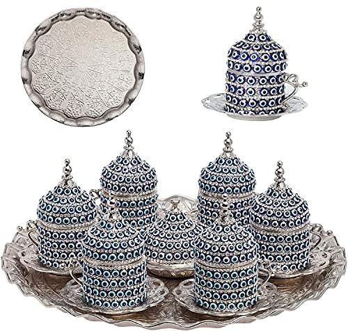 Alisveristime 27 Pc Ottoman Turkish Greek Arabic Coffee Espresso Serving Cup Saucer (Evil Eye) … (Silver)