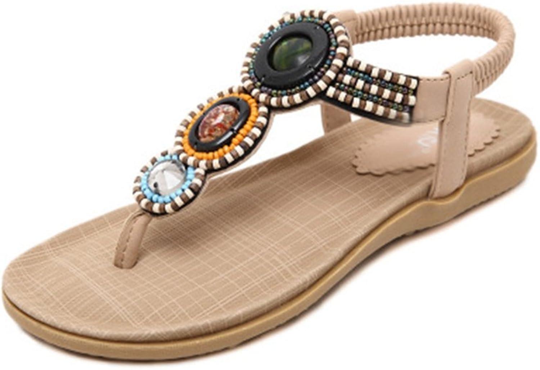 GIY Women's Bohemian Flat Flip Flops Sandals Bling T-Strap Summer Beach Platform Comfort Elastic Thong