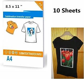 10 Sheets Dark T-Shirt Transfers Printers Paper Size 8.5 X 11, A4 Paper