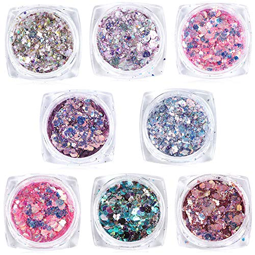 Macute Sparkle Nail Glitters 8 Colors Nail Art Sequins Shining Flakes for Women Fingernails and Toenails Cute Designs Nails Decorations Supply Manicure Tips Charms Accessories