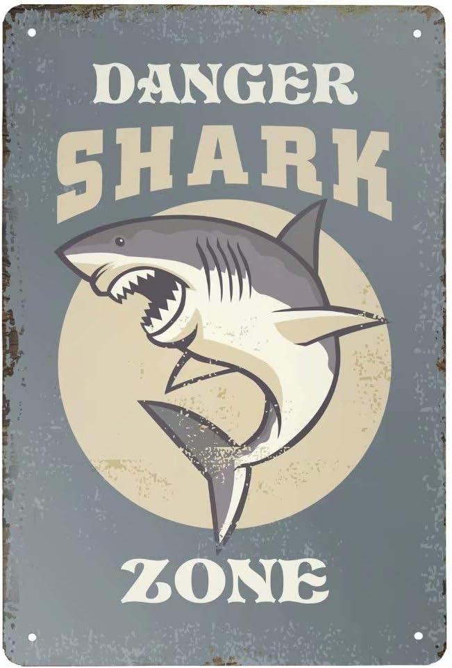 Henriyne Vintage Metal Tin Sign Danger Shark Zone Aluminum Sign for Home Kitchen Bar Wall Decor 12x8 Inch