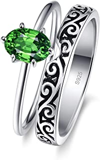 AVECON خواتم الزفاف للنساء خاتم الخطوبة 925 فضة خلق الأخضر الزمرد الأسود كرمة الدائري الحجم 5-10