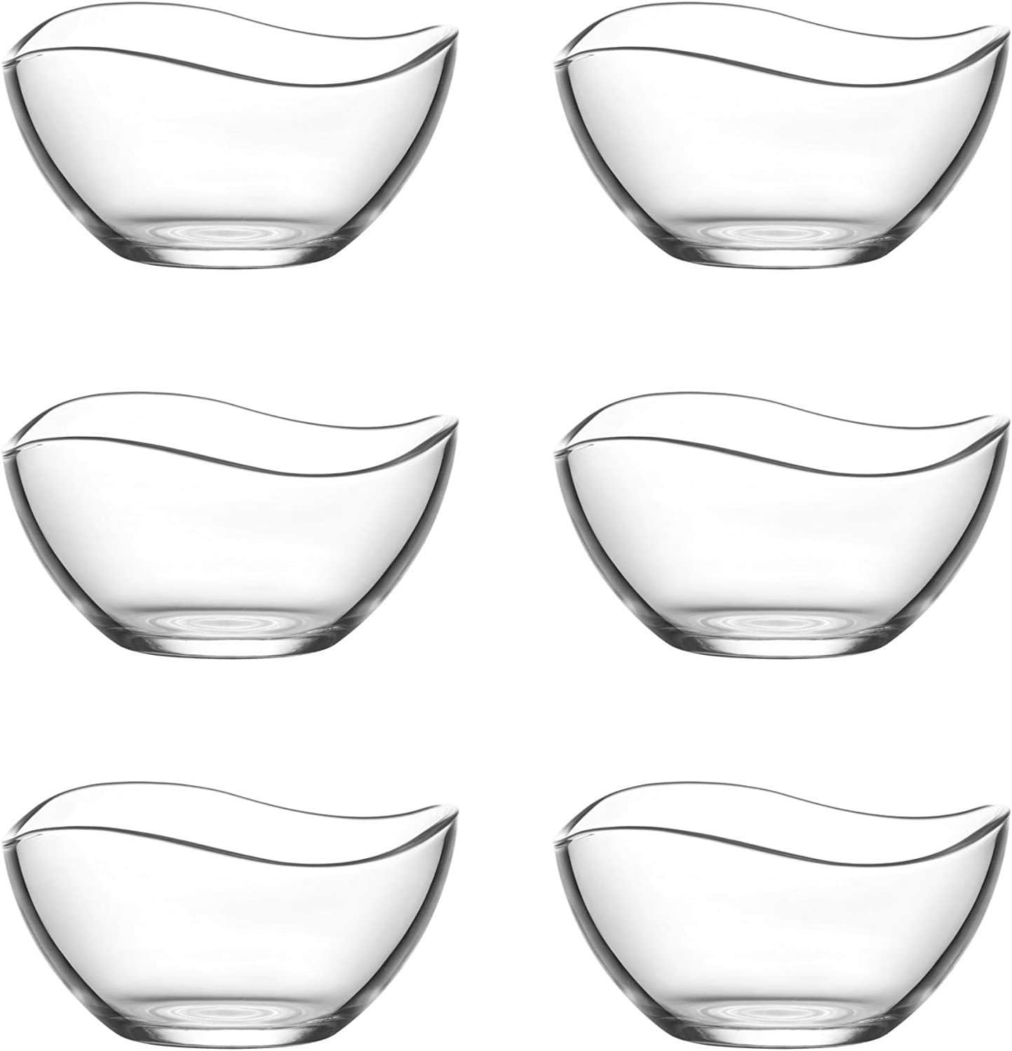 Lav - Juego de 6 cuencos de cristal de 310 ml para servir, para postre, ensaladera de cristal, juego de cuencos decorativos