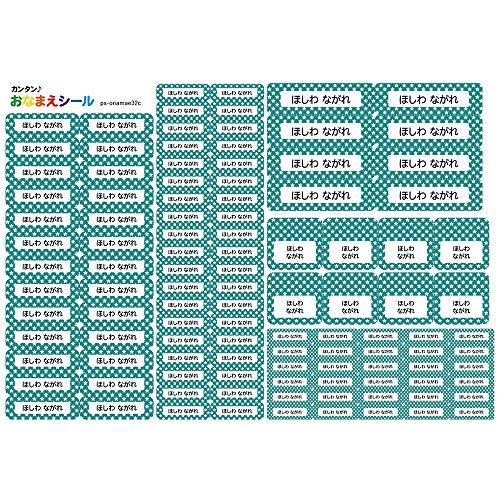 お名前シール 耐水 5種類 110枚 防水 ネームシール シールラベル 保育園 幼稚園 小学校 入園準備 入学準備 スター 星柄 エメラルド