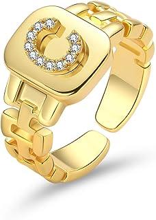 Senteria Chunky Initial Rings for Women Trendy 18K Gold Plated Letter Rings Statement Open Adjustable Alphabet Rings Lette...