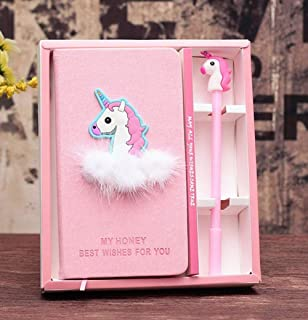 2 in 1 Notebook Pen with Box Gift Set Cute Cartoon Unicorn Stationery Children Journal Personal Diary Student Notebooks & ...