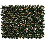 DOEWORKS Expandable Fence Privacy Screen for Balcony Patio Outdoor, Faux Ivy Fencing Panel for Backdrop Garden Backyard Home Decorations - 2 Piece