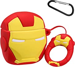 Gift-Hero Compatible with Airpods 1&2 Soft Silicone Cute Case,Cartoon 3D Fun Funny Cool Kawaii Fashion Design Designer Kits Character Skin Stylish Chic Cover for Girls Boys Kids Teens Air pods (Iron)