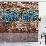 ABAKUHAUS Gangster Leben Duschvorhang, Graffiti-Zitat-Backsteinmauer, mit 12 Ringe Set Wasserdicht Stielvoll Modern Farbfest & Schimmel Resistent, 175x200 cm, Mehrfarbig