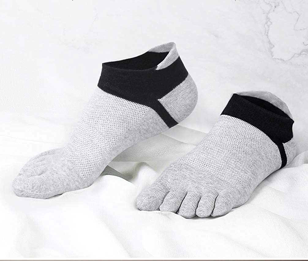 Men Toe Socks 5 Finger Cotton Athletic Wicking Crew Low Cut No Show 6 Pairs