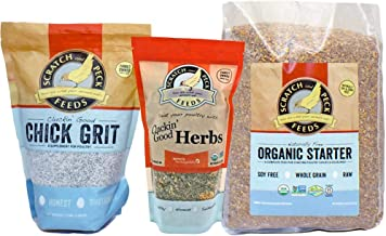 Chick Starter Kit - Includes Naturally Free Organic Starter Feed, Chick Grit, and Organic Herbs - Scratch and Peck Feeds