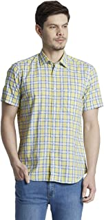 Colorplus Checkered Light Yellow Coloured Cotton Shirt