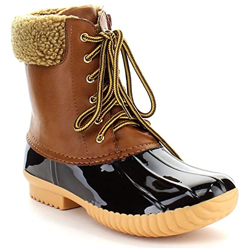 7d4ca35aa0c1 Nature Breeze Ladies Duck-02 Lace Up and Zipper Waterproof Insulated Boot