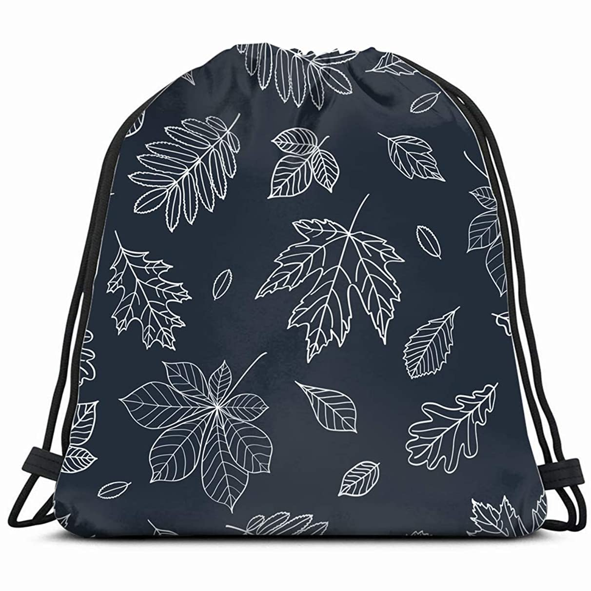 fall leaves autumn drawn chalk nature Drawstring Backpack Gym Sack Lightweight Bag Water Resistant Gym Backpack for Women&Men for Sports,Travelling,Hiking,Camping,Shopping Yoga