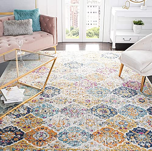 Safavieh Madison Collection MAD611B Boho Chic Floral Medallion Trellis Distressed Non-Shedding Living Room Bedroom Accent Area Rug, 4 x 6, Cream / Multi
