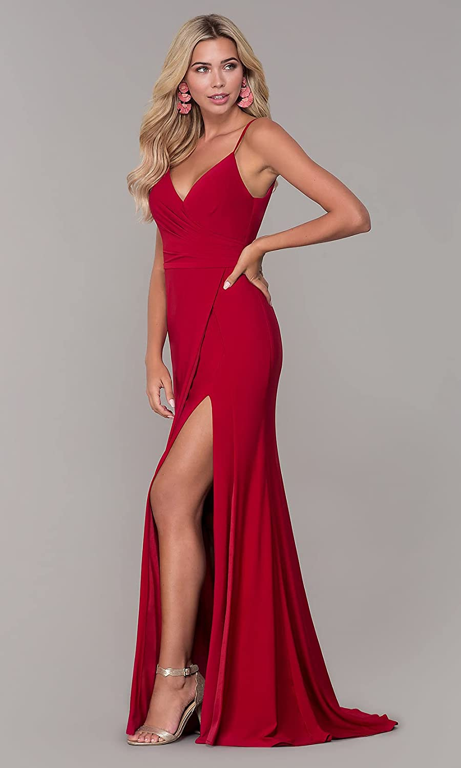Women's V Neck Mermaid Long Prom Dress Chiffon Ruched Slit Formal Party Gown