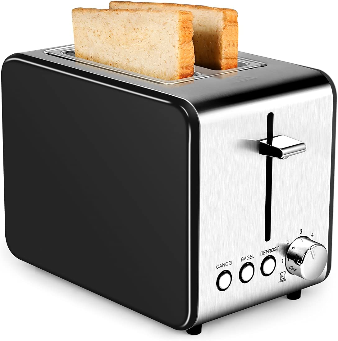 2 Slice Toaster, Extra-Wide Slot Toaster 2 Slice Best Rated Prime with 6 Bread Shade Settings, Removable Crumb Tray, Stainless Steel Toaster
