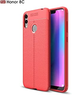 Huawei Honor 8C case, Silicone Leather[Slim Thin] Flexible TPU Protective Case Shock Absorption Carbon Fiber Cover for Huawei Honor 8C Red 1