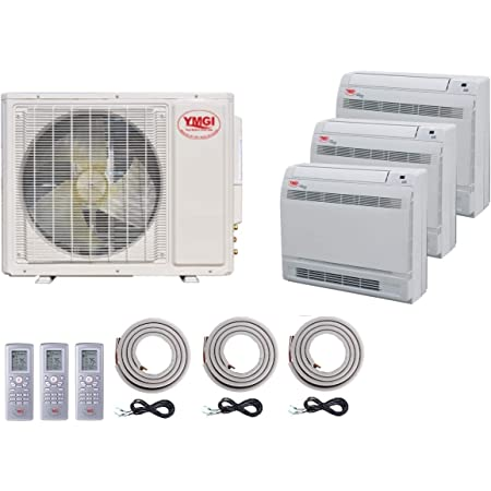 Ductless Mini Split Air Conditioner With Heat Pump Ymgi Three Zone 42000 Btu Three Zone 12000 12000 18000 Floor Mount Includes 25 Ft Line Set Installation Appliances